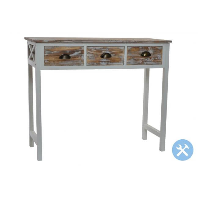 Commode 3 Tiroirs Bois Decape Style Alpin