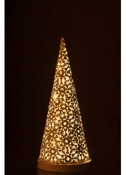 Lampe LED cône en métal ajouré de 47 cm.